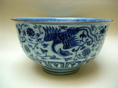 VERY RARE MASSIVE B/W BOWL, DECORATED WITH FOUR PHOENIX ON FLIGHT AMONG LOTUS FLOWER. EARLY MING DYNASTY 15TH CENTURY, XUANDE TO INTERREGNUM PERIOD. ART MUSEUM OF HONGKONG UNIVERSITY COLLECTIONS.