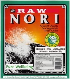 """Raw Nori Seaweed""""  The amount of nutrition contained in nori is the highest among seaweeds, and nori contains as much protein as soybeans. Nori also contains vitamins and minerals such as iron and calcium as well as EPA (Eicosapentaenoic Acid) and fiber, which are necessary for maintaining good health.  Nori is full of three desirable taste components: glutamate acid, inosinic acid, and guanil acid--also called.  Nori has 12 kinds of vitamins including group A and B vitamins."""