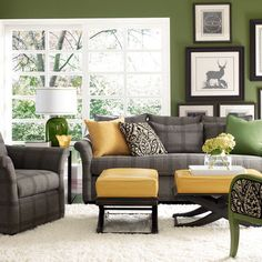 gray & green living room