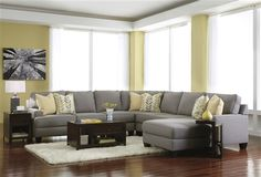 Gray Fabric Sectional Sofa 24302 Signature Design by Ashley Chamberly