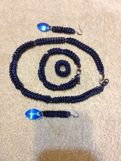 Valentines day gift. Necklace, earrings, and bracelet set. Byzantine weave. Done by Chained Dragon Designs  #chainmail #necklace #earrings #bracelet #ChainedDragonDes.com #jewelry