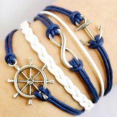 Bracelets w charm #marine #blueandwhite