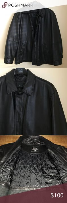 """JoS. A. BANK Men's Genuine Black Leather Jacket JoS. A. Bank Men's Genuine Black Leather Jacket. Super soft leather. Two front pockets. Removable insulation liner. Small scuff marks on sleeves as shown. Hardly noticeable. EUC.  Measurements  Chest Armpit to Armpit 28"""" Length Neck to bottom 33"""" Sleeve Shoulder to cuff 25"""" JoS.A.Bank Jackets & Coats"""