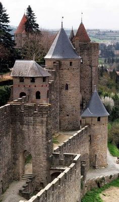Medieval Castle in Carcassonne, Languedoc-Roussillon, France.