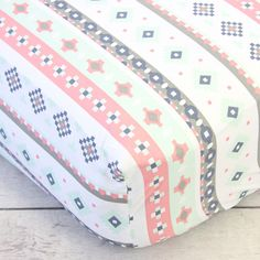 Caden Lane Baby Bedding - Crib Sheet - Trinity's Tribal Aztec, $48.00 (http://cadenlane.com/crib-sheet-trinitys-tribal-aztec/)