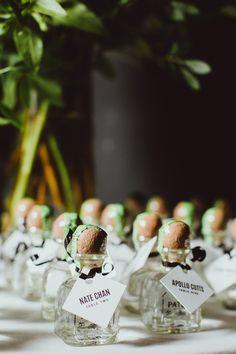 tequila escort cards - photo by Amber Gress http://ruffledblog.com/modern-brooklyn-wedding-at-the-wythe-hotel