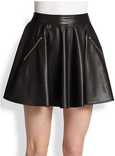 Faux-Leather Skater Skirt by Line & Dot
