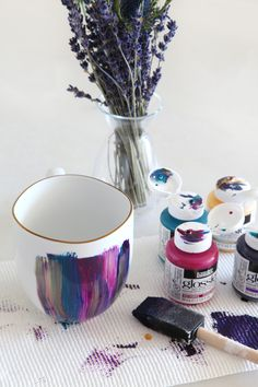 DIY Mug Painting with mugs from Goodwill.  Visit www.goodwillvalleys.com/shop for store locations.