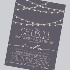 simple wedding invitation, modern, strings of lights, engagement party invite, reception only invite, digital, 24 hr proof