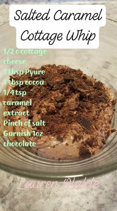 Salted Caramel Cottage Whip - FP without Chocolate Garnish, S with Chocolate Garnish Trim Healthy Mama Diet, Trim Healthy Recipes, Low Carb Recipes, Cooking Recipes, Ketogenic Recipes, Low Carb Sweets, Low Carb Desserts, Healthy Desserts, Healthy Food