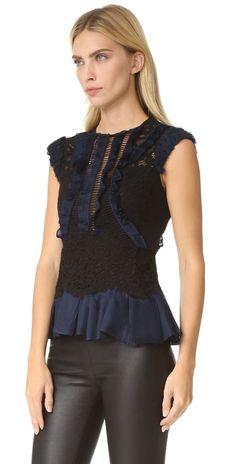 Rebecca Taylor Sleeveless Vien Lace Top | SHOPBOP
