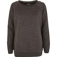 Grey quilted oversized sweatshirt - sweaters / hoodies - t shirts / tanks / sweats - women