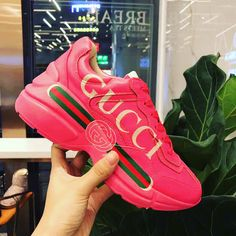 6c99e230afc Pink ace sneaker. New style Gucci Sneakers, Air Max Sneakers, Sneakers Nike,