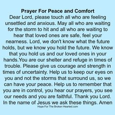 prayer for peace and comfort Prayer For Comfort, Prayer For Peace, Power Of Prayer, Daily Prayer, My Prayer, Kneeling In Prayer, Let Us Pray, Miracle Prayer, Special Prayers