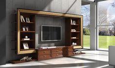 Libreria porta Tv con ala laterale. Living giovane ed alternativo. Realizzata in legno su un progetto di interior design.