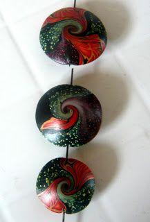 Polymer clay lentil swirled beads