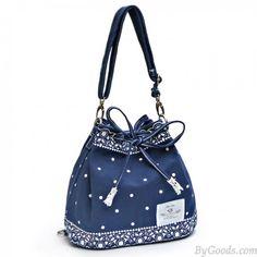 Fresh Bow Lace Polka Dot Drawstring Shoulder Bag Messenger Bag Backpack