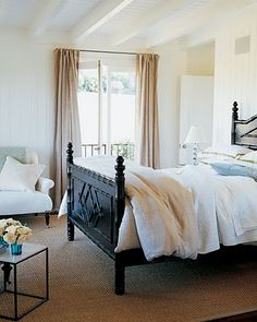 Sunlit Simplicity - Tall French doors draw light, breezes, and the fragrance of an orange tree into the master bedroom of this tranquil home in Santa Barbara, California. Gold Bedroom, Master Bedroom, Bedroom Decor, Bedroom Pics, Light Bedroom, Bedroom Bed, Dream Bedroom, Bedroom Ideas, Awesome Bedrooms
