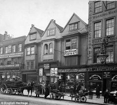 Borough High Street, London, circa 1903. And here is how it looks now: http://i.dailymail.co.uk/i/pix/2010/03/18/article-1258785-0869A69D000005DC-130_470x423.jpg