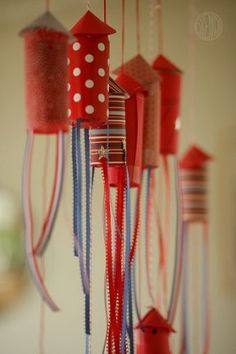 Rockets recycled from cardboard tubes.  These would be cute as 4th of July decorations.
