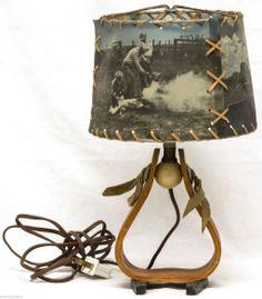 RARE Vintage Mid Century Early Foto Vues Western Horseshoe Table Lamp Cowboy...