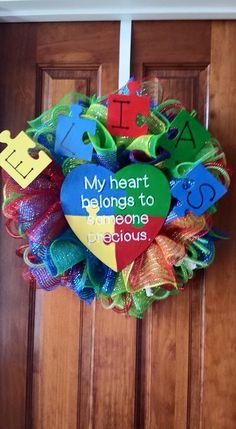 Autism Awareness mesh wreath for my sweet nephew.