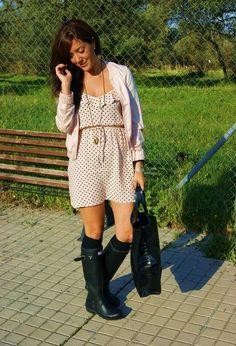Spring dress and Hunter boots