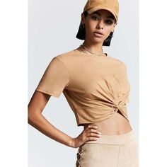 Forever21 Knotted Pocket Tee ($11) ❤ liked on Polyvore featuring tops, t-shirts, camel, short sleeve crew neck t shirt, crew neck tee, crop t shirt, short sleeve pocket tee and short sleeve pocket t shirts