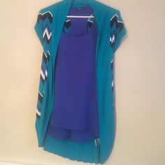 Bundle of 2 tops. Bellini and Soprano. Size small Royal blue tank top by soprano, 100% polyester. Zig-zag stripe teal,black,white and royal blue. 100% viscose.  Both tops excellent condition. Bundle price  $16 Belldini Tops