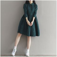 2016 Vintage Women Loose Dress Turn-Down Collar Character Full Sleeve Casual Vestidos Femininos Corduroy Green Retro Lady Dress