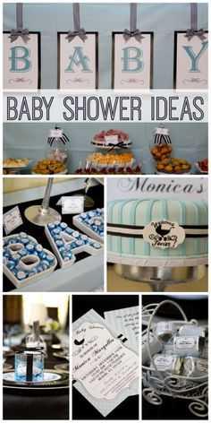 A baby stroller silhouette is the focus of this lovely modern chic boy blue baby shower!  See more party ideas at CatchMyParty.com!