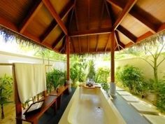 I love the outdoor bathrooms in the Maldives.