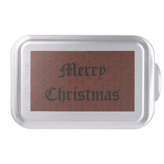 Red & Green Christmas Damask Cake Pan