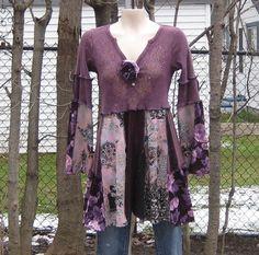 Upcycled Babydoll Tunic, Upcycled Clothing, Romantic Clothing, Artwear, Size Small/Medium