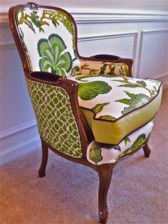 Enliven Your interior: 27 Mixed Upholstery Furniture Pieces - DigsDigs Funky Furniture, Upcycled Furniture, Furniture Makeover, Furniture Design, Upholstery Fabric For Chairs, Chair Fabric, Wingback Chairs, Bergere Chair, Armchair