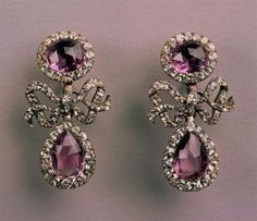 Silver, rock crystals and amethysts earrings, XVIII, Portugal