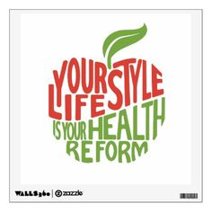 Red and green health quote design wall sticker - red gifts color style cyo diy personalize unique