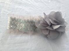 Grey Sequined Headband with Grey Flower by AmandaKateL on Etsy, $10.00