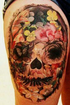 Beautiful blue flower skull tattoos Skull-with-Flowers. Skull Candy Tattoo, Candy Skulls, Sugar Skull Tattoos, Sugar Skulls, Bild Tattoos, Leg Tattoos, Flower Tattoos, Tattos, Tattoo Floral