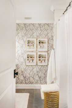 Palm Leaf Wallpaper Bathroom - design by Nicki Pasqualone sponsored by Walls Rep. - Palm Leaf Wallpaper Bathroom – design by Nicki Pasqualone sponsored by Walls Republic - Bathroom Renos, Small Bathroom, Palm Tree Bathroom, Palm Leaf Wallpaper, Decoration Entree, Bathroom Wallpaper, Wall Paper Bathroom, Wet Rooms, Trendy Wallpaper