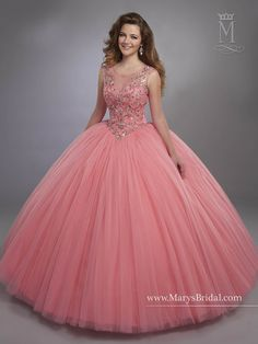 Designer Quinceanera Dresses 2017 Mary's with Illusion Scoop Neck and Basque Waistline Pink Sweet 16 Dress with Zipper Back Custom Made Ball Gown Dresses, 15 Dresses, Evening Dresses, Fashion Dresses, Sweet 16 Dresses, Pretty Dresses, Vestidos Color Coral, Pretty Quinceanera Dresses, Quinceanera Party
