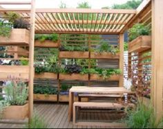 Deck trellis/planters but here the wind would ruin it