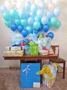 Balloon wall baby shower decorations