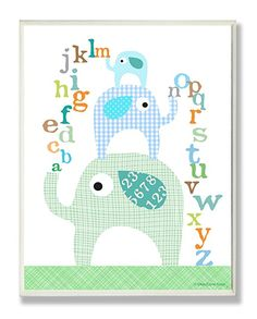 Cute n stylish the kids room by stupell blue elephants with alphabet rectangle wall plaque! Wall art idea for your baby nursery. Elephant Wall Art, Elephant Nursery, Pink Elephant, Elephant Print, Nursery Prints, Nursery Art, Nursery Ideas, Playroom Ideas, Nursery Inspiration