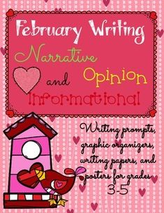 February writing prompts for narrative, opinion, and informational writing. Huge packet full of fun prompts, graphic organizers, posters, and papers. $