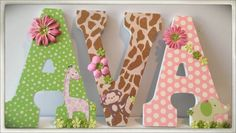 Jungle Jill. Safari Brights. Nursery wall Letters for Girl's Nursery or Bedroom. #nursery #jungletheme #kidsrooms #wallart #baby #names