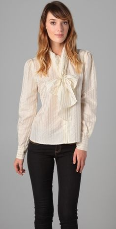 Colleen Tie Collar Blouse by RZ via shopbop. Love this for work!