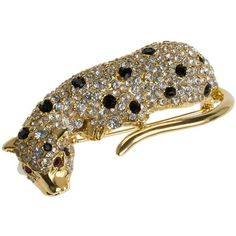 Kenneth Jay Lane Crystal Leopard Pin ($300) ❤ liked on Polyvore featuring jewelry, brooches, gold, kenneth jay lane brooch, crystal jewelry, crystal stone jewelry, gold tone jewelry and pin jewelry