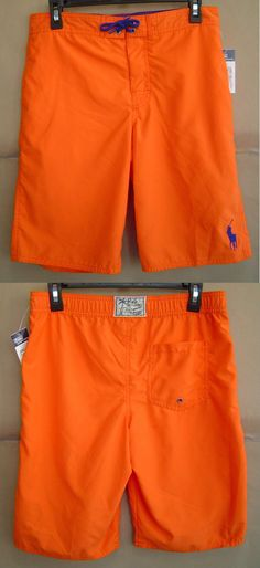 1125e00da8 Swimwear 51919: Nwt $55 Polo Ralph Lauren Boys L 14 16 Big Pony Swim Board  Short Orange -> BUY IT NOW ONLY: $35.99 on eBay!