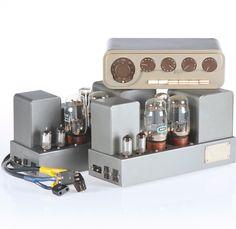 Quad valve pre and power amplifiers. Valve Amplifier, Instrument Sounds, Music Machine, At Home Movie Theater, Hifi Audio, Vacuum Tube, Cool Tech, Loudspeaker, Guitar Amp